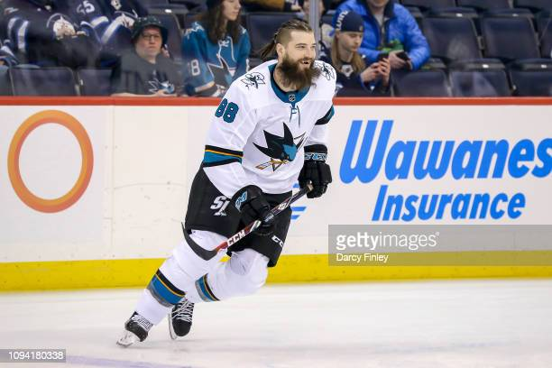 Brent Burns of the San Jose Sharks takes part in the pregame warm up prior to NHL action against the Winnipeg Jets at the Bell MTS Place on February...