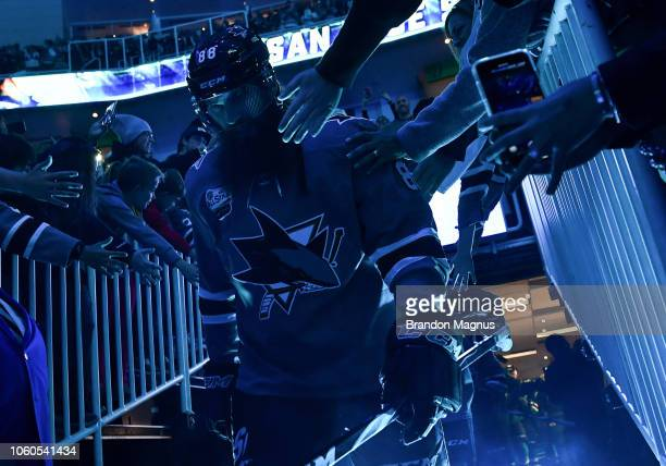 Brent Burns of the San Jose Sharks takes the ice against the Calgary Flames at SAP Center on November 11 2018 in San Jose California