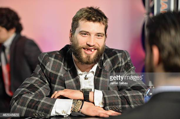 Brent Burns of the San Jose Sharks waits backstage at the NHL AllStar Fantasy Draft as part of the 2015 NHL AllStar Weekend at Greater Columbus...