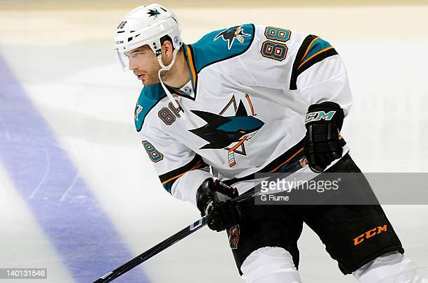 Brent Burns of the San Jose Sharks warms up before the game against the Washington Capitals at the Verizon Center on February 13 2012 in Washington DC