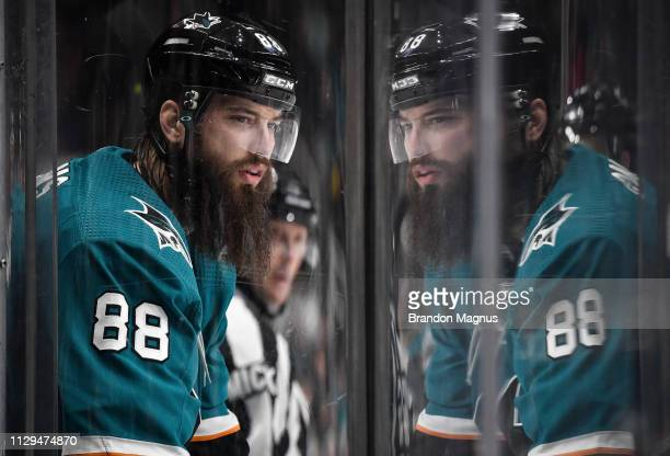 Brent Burns prepares to enter the ice against the St Louis Blues at SAP Center on March 9 2019 in San Jose California
