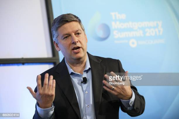 Brent Callinicos chief financial advisor of Hyperloop Transport Technologies Inc speaks during the Montgomery Summit in Santa Monica California US on...