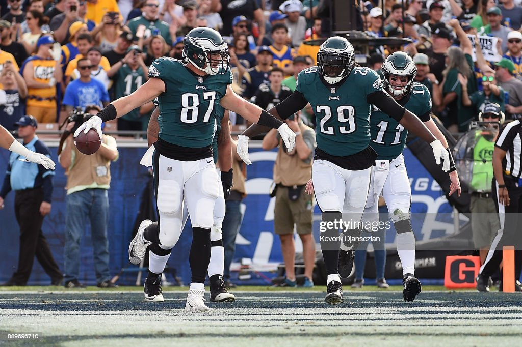 Brent Celek #87 and LeGarrette Blount #29 of the Philadelphia Eagles celebrate after scoring a touchdown during the first quarter of the game against the Los Angeles Rams at the Los Angeles Memorial Coliseum on December 10, 2017 in Los Angeles, California.