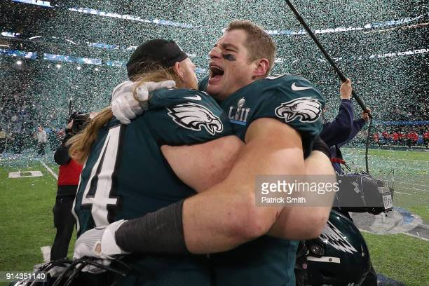 Brent Celek of the Philadelphia Eagles celebrates after defeating the New England Patriots 4133 in Super Bowl LII at US Bank Stadium on February 4...