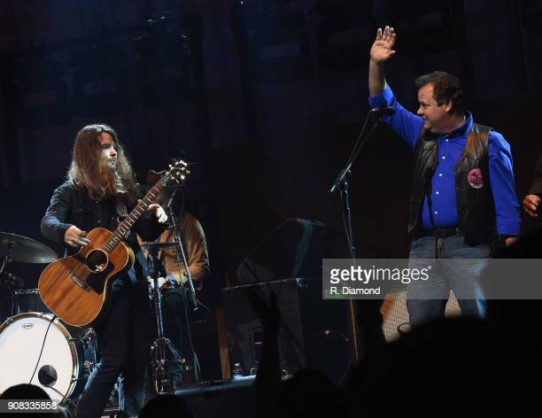 Brent Cobb and Brent Cobb's Dad Patrick Cobb perform during Miranda Lambert Livin' Like Hippies Tour Atlanta Georgia at Infinite Energy Center on...