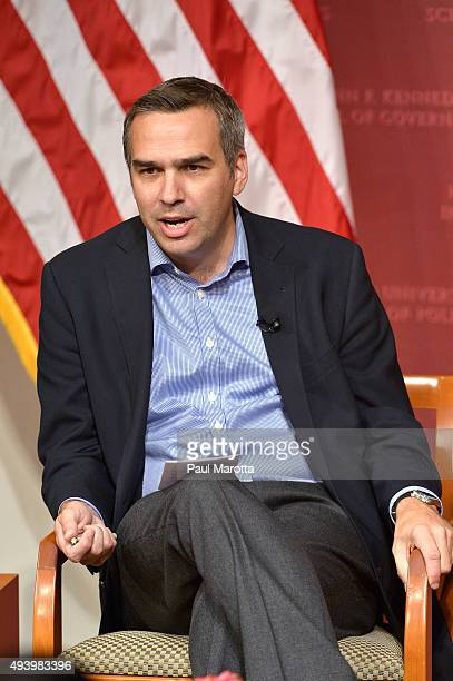 Brent Colburn moderates a discussion with White House Press Secretary Joshua Earnest at the Harvard University John F Kennedy School of Government...
