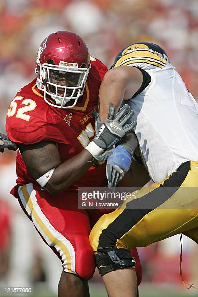 Brent Curvey of the Iowa State Cyclones fights through a block during a game against the Iowa Hawkeyes at Jack Trice Stadium in Ames Iowa on Sept....