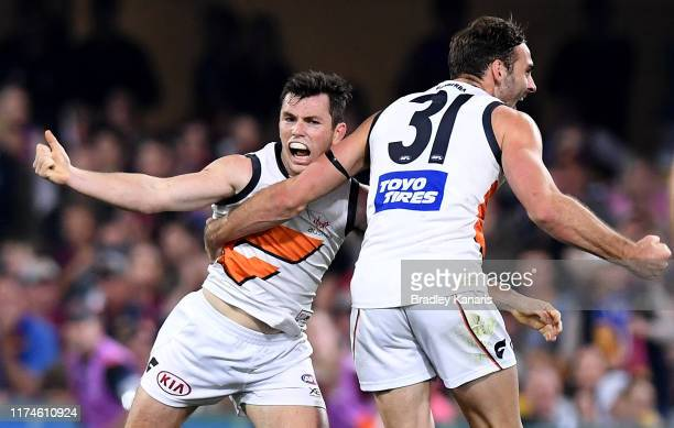 Brent Daniels of the Giants celebrates kicking a goal during the AFL Semi Final match between the Brisbane Lions and the Greater Western Sydney...