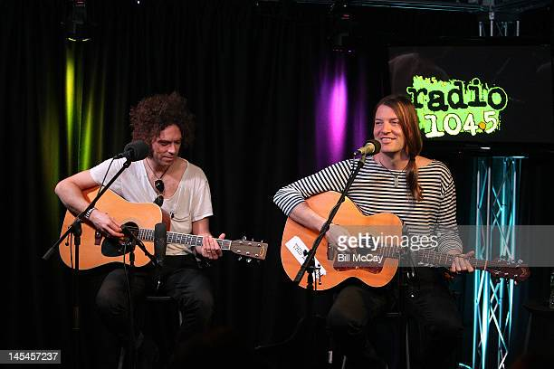 Brent DeBoer and Courtney TaylorTaylor from the band The Dandy Warhols perform at Radio Station 1045 iHeartRadio Performance Theater May 30 2012 in...