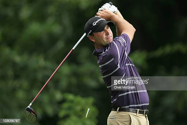 Brent Delahoussaye plays off the 15th tee during round two of the 2010 RBC Canadian Open at St. George's Golf and Country Club on July 23, 2010 in...