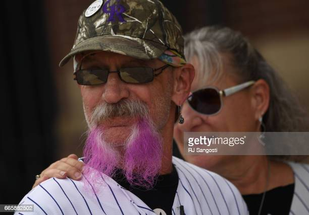 Brent Doeden aka 'Captain Earthman' and his wife Becky Scharfenberg arrive to Coors Field for the Colorado Rockies' home opener Coors Field on April...