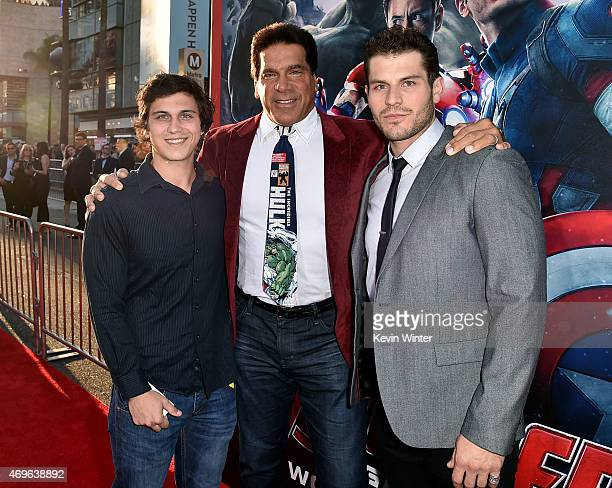 Brent Ferrigno Lou Ferrigno and Lou Ferrigno Jr attend the premiere of Marvel's Avengers Age Of Ultron at Dolby Theatre on April 13 2015 in Hollywood...