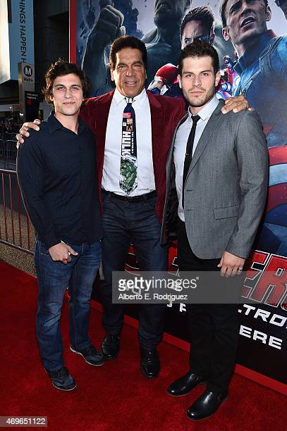 Brent Ferrigno Lou Ferrigno and Lou Ferrigno Jr attend the world premiere of Marvel's Avengers Age Of Ultron at the Dolby Theatre on April 13 2015 in...