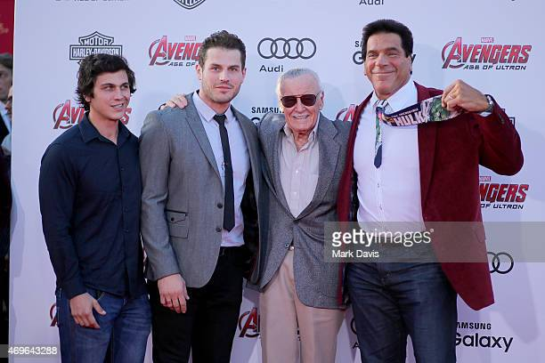 Brent Ferrigno Lou Ferrigno Jr Stan Lee and Lou Ferrigno attend the premiere of Marvel's Avengers Age Of Ultron at Dolby Theatre on April 13 2015 in...