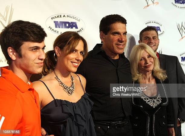 Brent Ferrigno Pproducer Shanna Ferrigno actor Lou Ferrigno Carla Ferrigno and Louis Ferrigno Jr arrive at the WWE SummerSlam Kickoff Party held at...