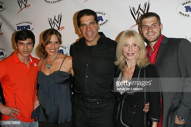 Brent FerrignoShanna Ferrigno Lou Ferrigno Carla Ferrigno and Louis Ferrigno Jr arrive for the WWE SummerSlam KickOff Party at Tropicana Bar at The...