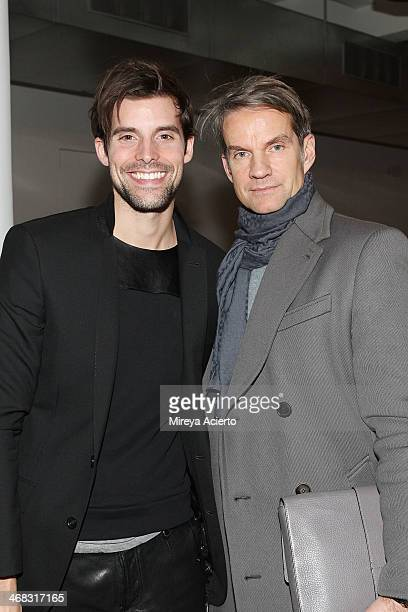 Brent Fischer and Alexander Werz attend the Tim Coppens fashion show during MADE Fashion Week Fall 2014 at Milk Studios on February 9 2014 in New...