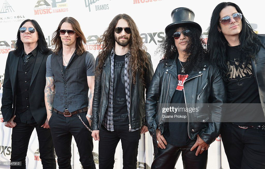 Brent Fitz, Myles Kennedy, Frank Sidoris, Slash and Todd Kerns attend the 2014 Gibson Brands AP Music Awards at the Rock and Roll Hall of Fame and Museum on July 21, 2014 in Cleveland, Ohio.