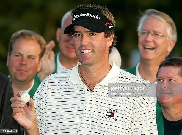 Brent Geiberger holds a golf ball used by his father Al Geiberger to win the 1976 Greater Greensboro Classic on October 17 2004 at the Chrysler...