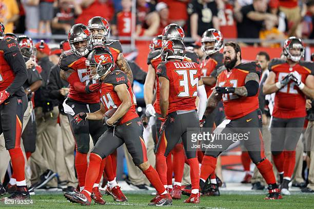 Brent Grimes of the Tampa Bay Buccaneers celebrates with teammates after intercepting a pass in the fourth quarter of the game against the New...