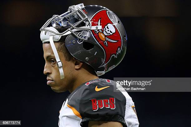 Brent Grimes of the Tampa Bay Buccaneers reacts during a game against the New Orleans Saints at the MercedesBenz Superdome on December 24 2016 in New...