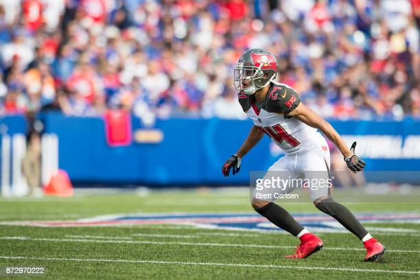 Brent Grimes of the Tampa Bay Buccaneers runs in open field during the game against the Buffalo Bills at New Era Field on October 22 2017 in Orchard...