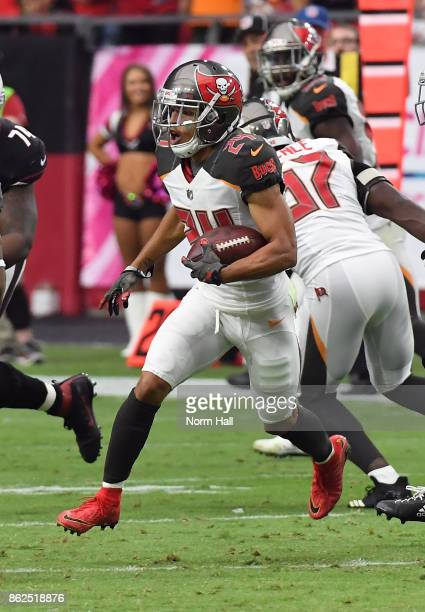 Brent Grimes of the Tampa Bay Buccaneers runs with the ball after intercepting a pass by Carson Palmer of the Arizona Cardinals at University of...
