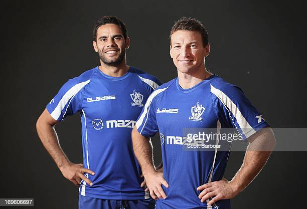 Brent Harvey and Daniel Wells of the Kangaroos pose at Aegis Park on May 29 2013 in Melbourne Australia Harvey and Wells are approaching their 350th...