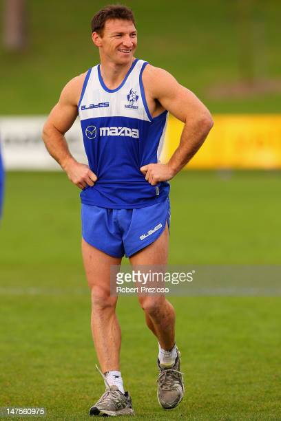 Brent Harvey looks on during a North Melbourne Kangaroos AFL training session at Aegis Park on July 2 2012 in Melbourne Australia