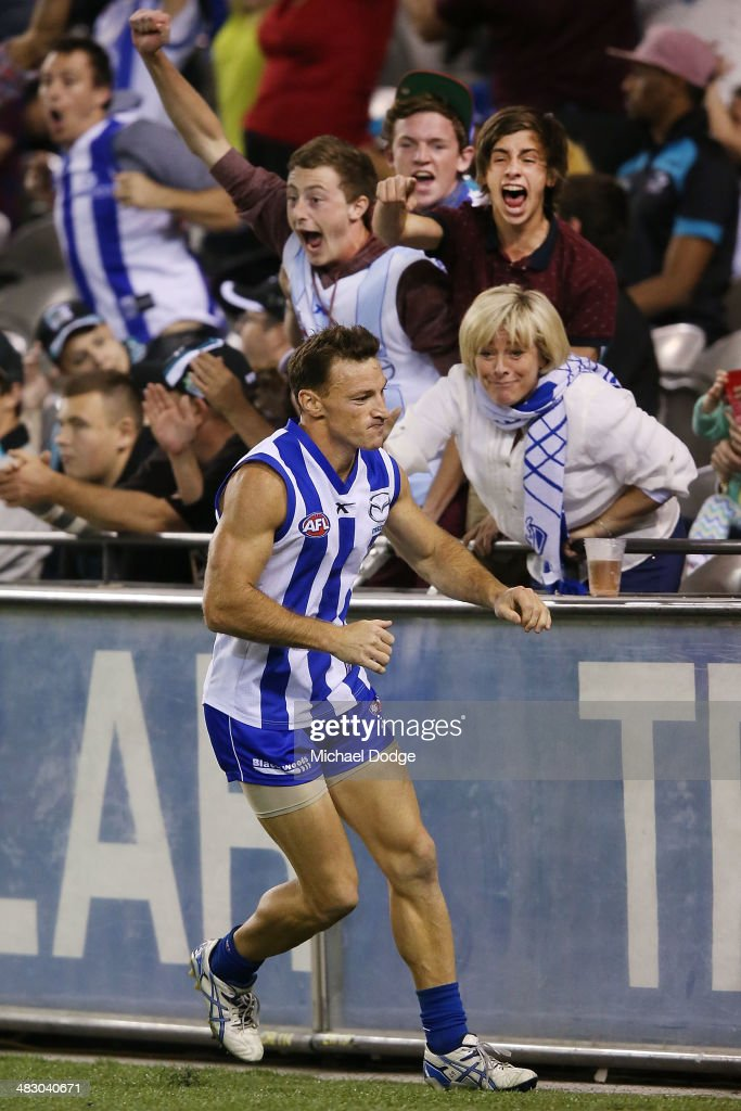 Brent Harvey of the Kangaroos celebrates a goal during the round three AFL match between the North Melbourne Kangaroos and the Port Adelaide Power at Etihad Stadium on April 6, 2014 in Melbourne, Australia.
