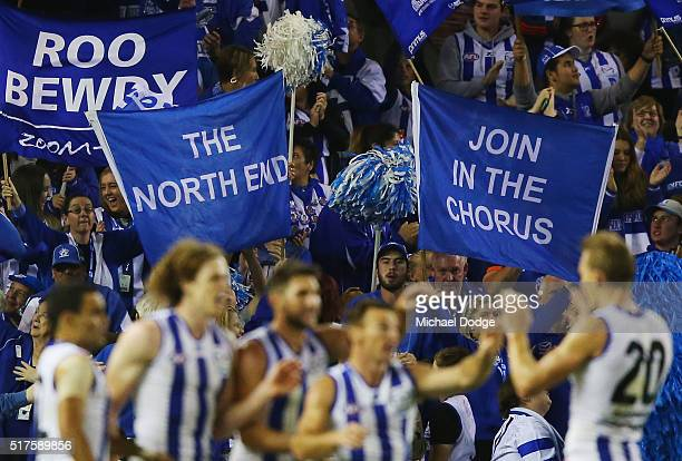 Brent Harvey of the Kangaroos celebrates a goal during the round one AFL match between the North Melbourne Kangaroos and the Adelaide Crows at Etihad...