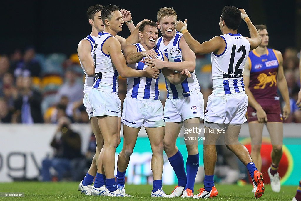 Brent Harvey of the Kangaroos celebrates after kicking a goal during the round 17 AFL match between the Brisbane Lions and the North Melbourne Kangaroos at The Gabba on July 25, 2015 in Brisbane, Australia.