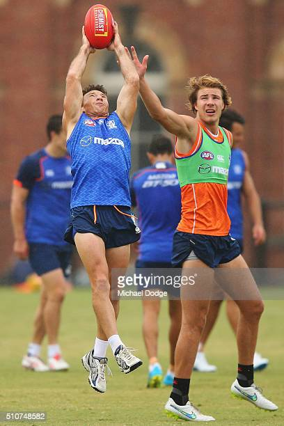 Brent Harvey of the Kangaroos marks the ball against Ben McKay during a North Melbourne Kangaroos AFL media session at Arden Street Ground on...