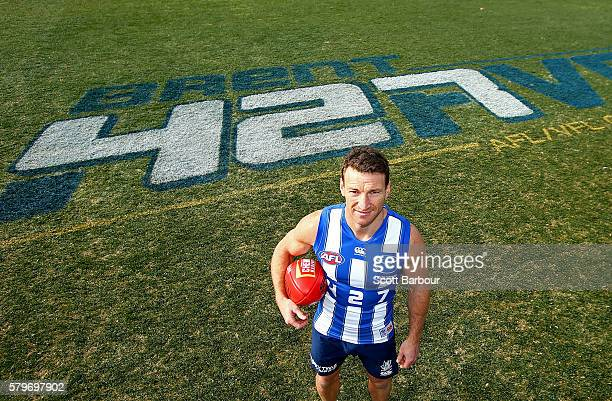 Brent Harvey of the Kangaroos poses during a North Melbourne Kangaroos AFL training session at Arden Street Ground on July 25 2016 in Melbourne...