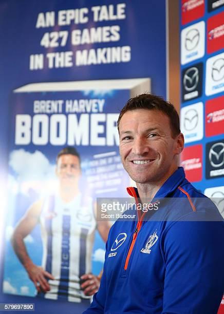 Brent Harvey of the Kangaroos speaks during a North Melbourne Kangaroos AFL media session at Arden Street Ground on July 25 2016 in Melbourne...