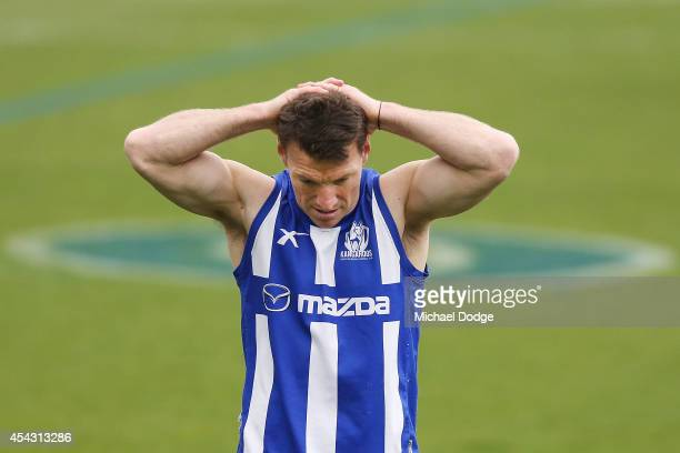 Brent Harvey suspended for a further two matches gathers his breath after some hard running during a North Melbourne Kangaroos AFL training session...