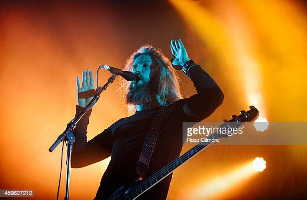 Brent Hinds of Mastodon performs on stage at O2 Academy on November 26, 2014 in Glasgow, United Kingdom.