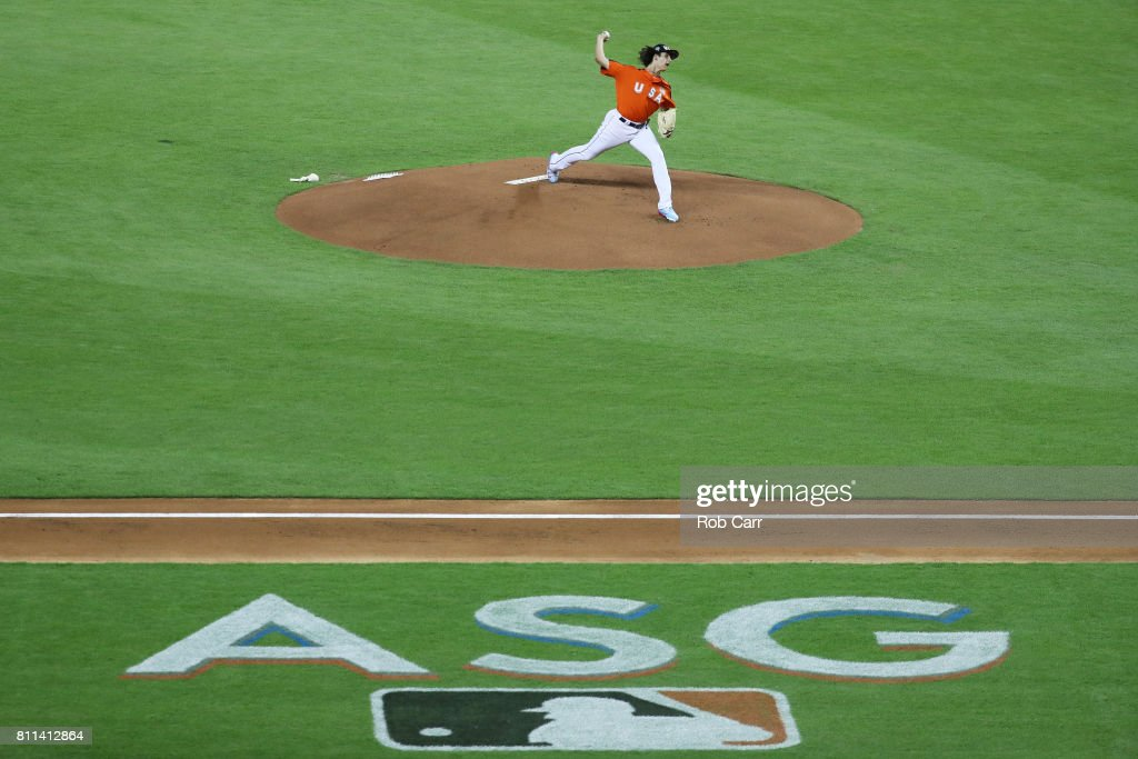Brent Honeywell #21 of the Tampa Bay Rays and the U.S. Team throws a pitch in the first inning against the World Team during the SiriusXM All-Star Futures Game at Marlins Park on July 9, 2017 in Miami, Florida.