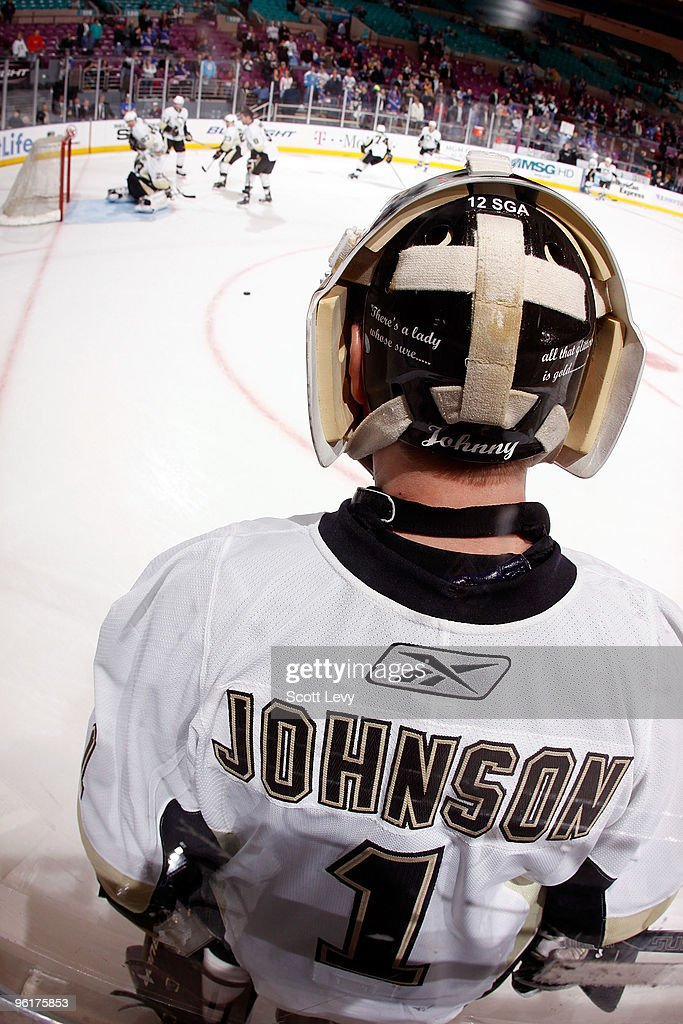 B Johnson 1 Of The Pittsburgh Penguins Looks On As Goaltender Marc Andre Fleury