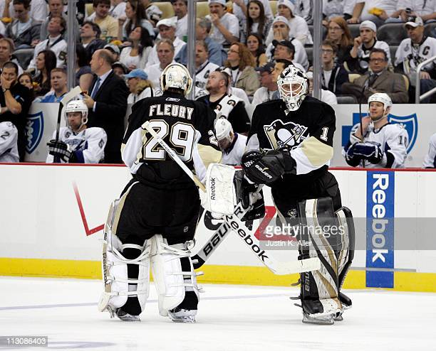 Brent Johnson of the Pittsburgh Penguins replaces MarcAndre Fleury against the Tampa Bay Lightning in Game Five of the Eastern Conference...
