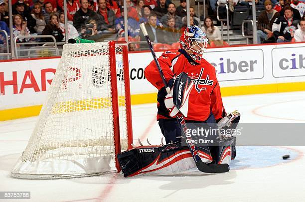 Brent Johnson of the Washington Capitals makes a save against the New York Rangers on November 8, 2008 at the Verizon Center in Washington DC.