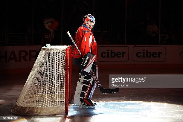 Brent Johnson of the Washington Capitals stands in the goal crease as he is introduced before the game against the New York Rangers on November 8,...