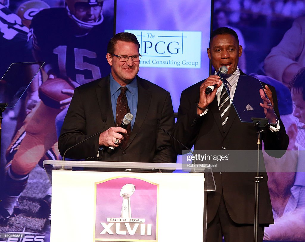 Brent Jones (L) and Lewis Johnson attend the 2013 Super Bowl Breakfast at the Hyatt Regency New Orleans on February 1, 2013 in New Orleans, Louisiana.