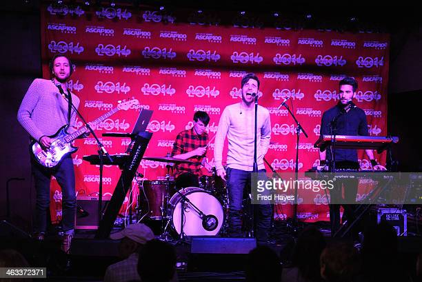 Brent Kutzle Brennan Strawn Joel Plotnik and Brian Willett of Monarch perform at the Sundance ASCAP Music Cafe during the 2014 Sundance Film Festival...