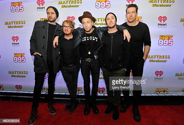 Brent Kutzle Drew Brown Ryan Tedder Eddie Fisher and Zach Filkins of OneRepublic attend HOT 995's Jingle Ball 2014 Presented by Mattress Warehouse at...