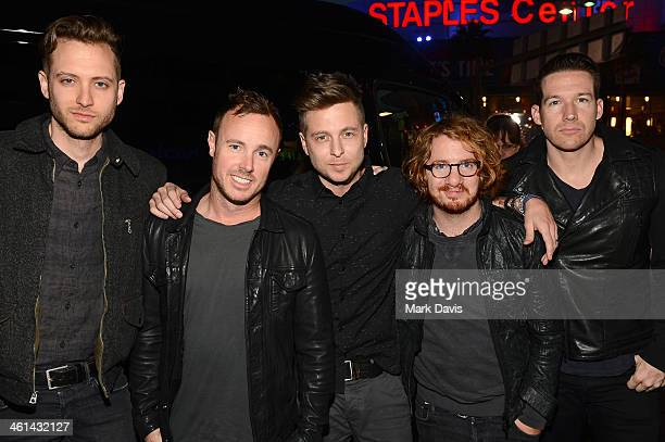 Brent Kutzle Eddie Fisher Ryan Tedder Drew Brown and Zach Filkins of the band OneRepublic attend The 40th Annual People's Choice Awards at Nokia...