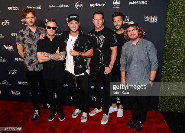 Brent Kutzle Eddie Fisher Ryan Tedder Zach Filkins and Drew Brown of OneRepublic attend the 2019 Global Citizen Festival Power The Movement in...