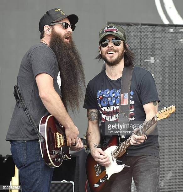 Brent Lain and Marcus Kiser of Old Southern Moonshine Revival perform during the Tortuga Music Festival on April 17 2016 in Fort Lauderdale Florida