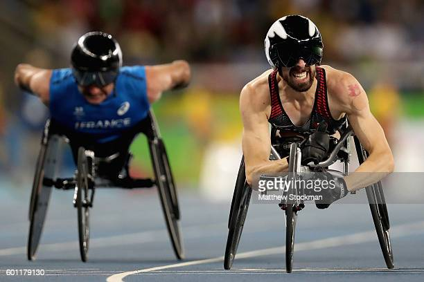Brent Lakatos of Canada celebrates after winning the men's 100 meter T53 final on day 2 of the Rio 2016 Paralympic Games at on September 9 2016 in...