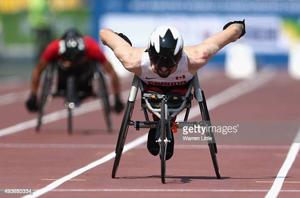 Brent Lakatos of Canada competes in the Men's 100m T53 Heats during the Morning Session on Day One of the IPC Athletics World Championships at Suhaim...